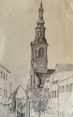 Evangelische Stadtkirche Schwetzingen, Shihab Vaippipadath, undatiert, Zeichnung, Papier, 31x49cm, ID1743