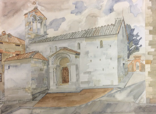 San Quirico d'Orcia, S. Maria Assunta, Otto Eberhardt, 1994, Aquarell, Papier, 53x39cm, ID1570