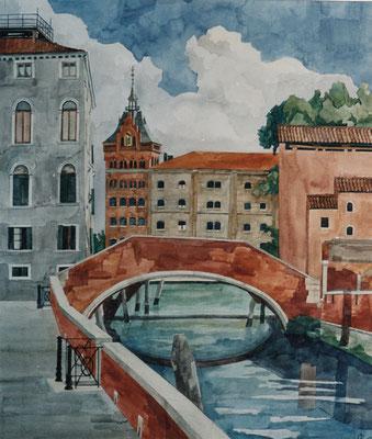Venedig, Molino Stucky v Fta de S Basegio, Otto Eberhardt, 2002, Aquarell, Papier, 69x58cm, ID1091