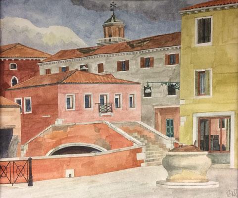 Campo de San Basegio v. Calle die Venti, Otto Eberhardt, 2002, Aquarell, Papier, 45x37,8cm, ID1527