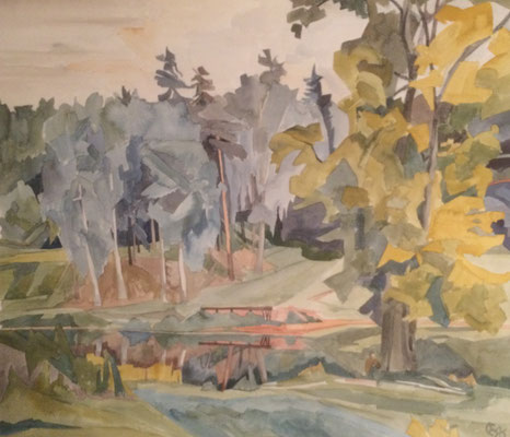 Siversky mit großen Linden, Otto Eberhardt, 1996, Aquarell, Papier, 60x52cm, ID1669