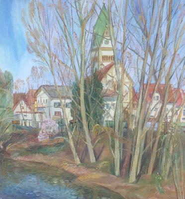 Altrhein bei Ketsch, Alexandr Zlatkin, 1999, Öl, Leinwand, 66x56, ID1355