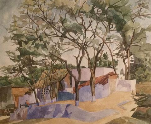 Agra Taj Ganj, Otto Eberhardt, 2000, Aquarell, Papier, 51x43,5cm, ID1703