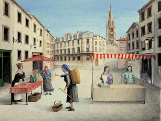 Limoges. Der Marktplatz (Die große Neuigkeit), Norbert, Zeichnung, Papier, ID1343