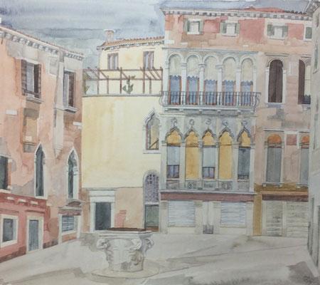 Campo S. M. Mater Domini I, Casa Viuro-Zane gia die Querini, Otto Eberhardt, 1995, Aquarell, Papier, 40x35cm, ID1559