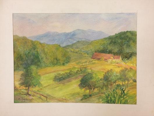 Unteroevisheim, Theodor Waldraff, 1958, Aquarell, Papier, 36,5x27cm, ID1309