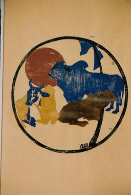 Rinder auf Gelb, Otto Eberhardt, 1989, Holzschnitt, Papier, 53x83cm, ID1250