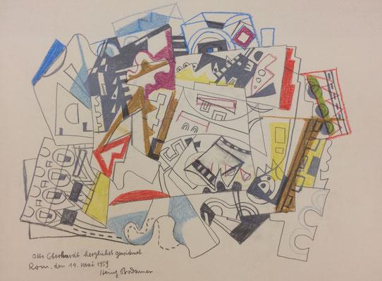 Abstrakt 2, Heinz Bodamer, 1954, Farbzeichnung, Papier, 66x48, ID1313