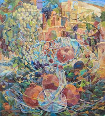 Crystan garnets, Vladimir Skripnik, 2013, oil, canvas on carton, 49x54,5