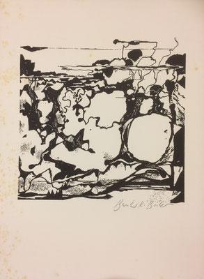 Landschaft, Bernhard Becker, undatiert, 19x18,5cm, ID1377