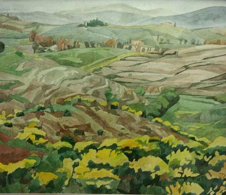 Crete Senesi v. Tenuta Belvedere (Monteroni d'Arabia), Otto Eberhardt, 2000, Aquarell, Papier, 60x52cm, ID1457