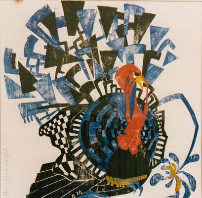 Truthahn II, Otto Eberhardt, 1976, Holzschnitt, Papier, 84x84cm, ID1095