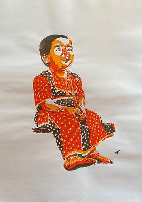 Happy Girl red on white, Shihab Vaippipadath, undatiert, Druck, Papier, 61x86cm, ID1721