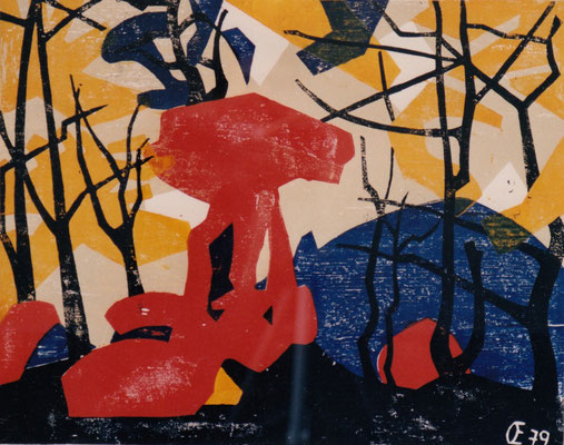 Teufelstisch, Otto Eberhardt, 1979, Holzschnitt, Papier, 60x48cm, ID1188