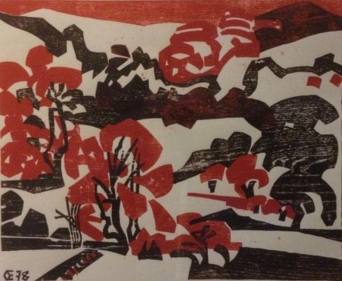 Bruchweiler Geiersteine, Otto Eberhardt, 1978, Holzschnitt, Papier, 60x48,5cm, ID1307