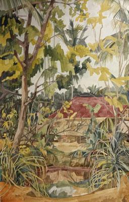 Kerala, Haus Balakrishnan, Otto Eberhardt, 2002, Aquarell, Papier, 45x69cm, ID1451