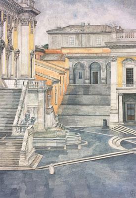 Capitol Palazzo die Conservatori und Palazzo Senatorio, Otto Eberhardt, 2007, Aquarell, Papier, 53,5x75cm, ID1358