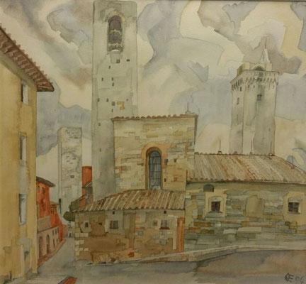 San Gimignano IV, Otto Eberhardt, 1994, Aquarell, Papier, cm, ID1454