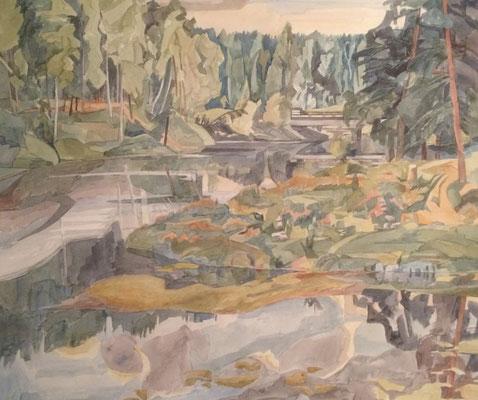 Siversky Fluß mit Brücke von anderer Seite, Otto Eberhardt, 1997, Aquarell, Papier, 60x52,5cm, ID1682
