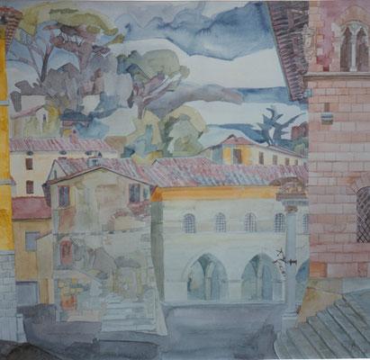 Massa Marittima Piazzale Mazzini, Otto Eberhardt, 1994, Aquarell, Papier, 56x53, ID1097