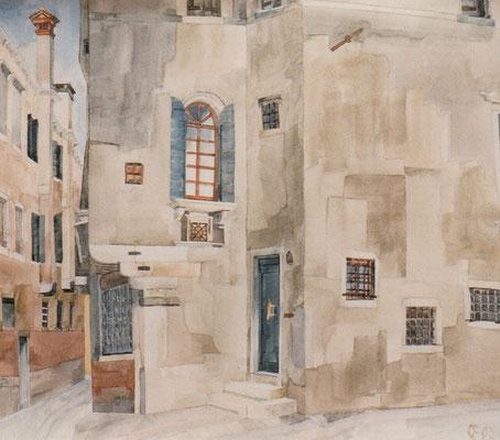 Campiello del Sole, Otto Eberhardt, 1997, Aquarell, Papier, 38,4x44cm, ID1158