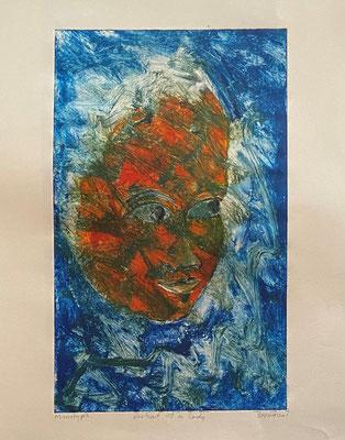 Portrait of a Lady in blue, Shihab Vaippipadath, 2001, , Papier, 28x45cm, ID1728