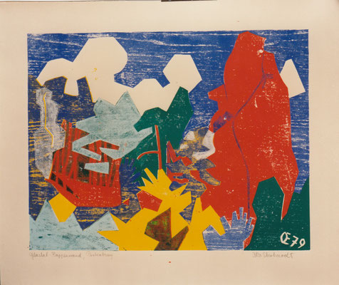 Glastal Rappenwand, Otto Eberhardt, 1979, Holzschnitt, Papier, 62,5x48,5cm, ID1271