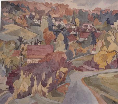 Dachtel von Deufringen, Otto Eberhardt, 1996, Aquarell, Papier, 66x58cm, ID1505