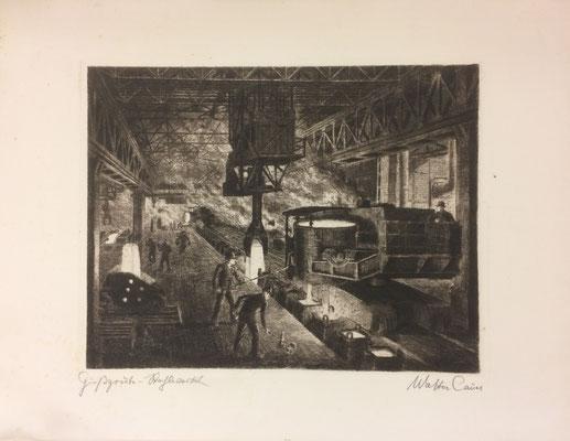 Stahlwerk, Walter Cauer, undatiert, Radierung, Papier, 32,5x25cm, ID1372