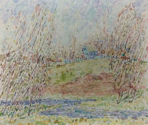 Landschaft mit Bach und Haus, Alexandr Zlatkin, undatiert, Aquarell, Papier, 24x19cm, ID1388
