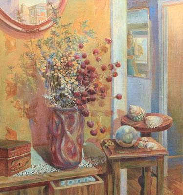 A mirror sphere, Vladimir Skripnik, 2001, oil, canvas, 56x61