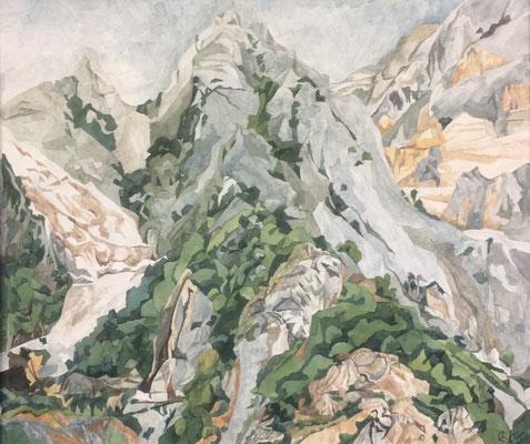Carrara Berge von Bedizzano, Otto Eberhardt, 2006, Aquarell, Papier, 60x53cm, ID1196