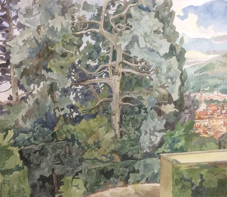 Florenz, Giardino di Boboli v. über Kaffeehaus, Otto Eberhardt, 1999, Aquarell, Papier, 64x56cm, ID1566