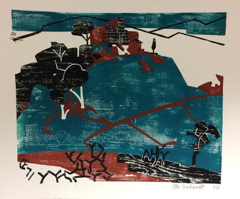 Landschaft in der Pfalz II, Otto Eberhardt, 1971, Holzschnitt, Papier, 64,5x54cm, ID1259