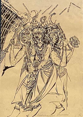 Kodungalloor Bharani, Shihab Vaippipadath, 1997, Federzeichnung, Papier, 21x29cm, ID1753