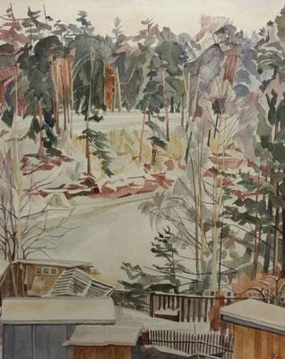 Ausblick vom Fenster Sascha im Winter, Siverskij, Otto Eberhardt, 1997, Aquarell, Papier, 53x65,5cm, ID1322