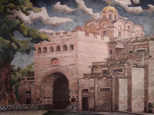 Das Heldentor (in der alten Hauptstadt Kiew), Otto Eberhardt, Aquarell, Papier, , ID1338,