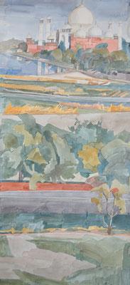 Agra Taj Mahal von Red Fort Akbar Palace, Otto Eberhardt, 1997, Aquarell, Papier, 34x75cm, ID1082