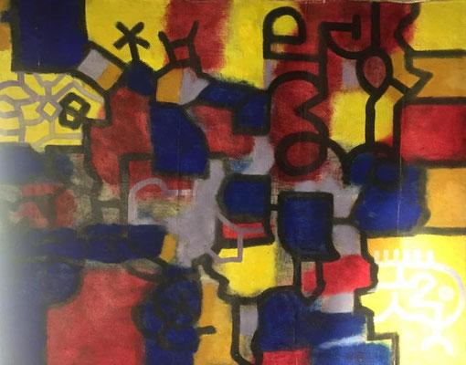 Abstrakt 1, Shihab Vaippipadath, 2002, Öl, Leinwand, 122x100cm, ID1603