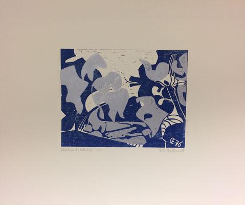 Altrhein bei Ketsch blau silber, Otto Eberhardt, 1976, Holzschnitt, Papier, 38,5x30cm, ID1257