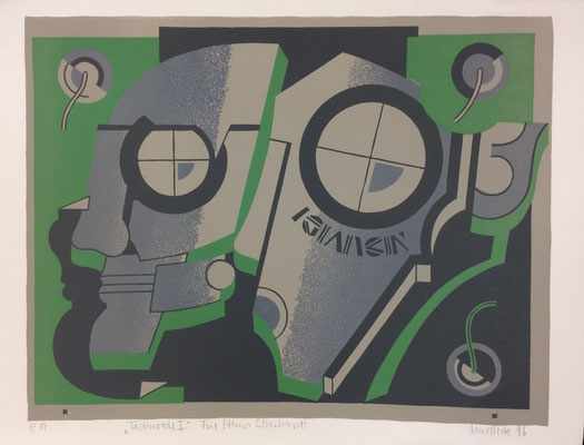 Technoide I, Otto Mindhoff, 1996, Druck, Papier, 70x54cm, ID1311