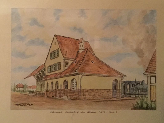 Der alte Bahnhof von Ketsch, Robert Fuchs, undatiert, , Papier, cm, ID1494