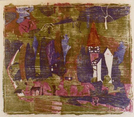 Neuenbürg, Friedhof, Otto Eberhardt, 1964, Holzschnitt, Papier, 90,2x75cm, ID1169