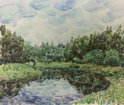 landschaft mit See, Alexandr Zlatkin, undatiert, Aquarell, Papier, 30x21cm, ID1389