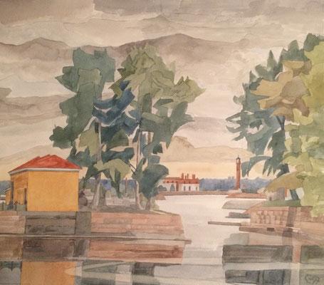 Кронштадт, итальянский пруд. Kronstadt, Italienischer Teich, Otto Eberhardt, 1997, Aquarell, Papier, 44x38,5cm, ID1676