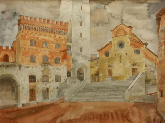 San Gimignano III, Otto Eberhardt, 1993, Aquarell, Papier, cm, ID1450