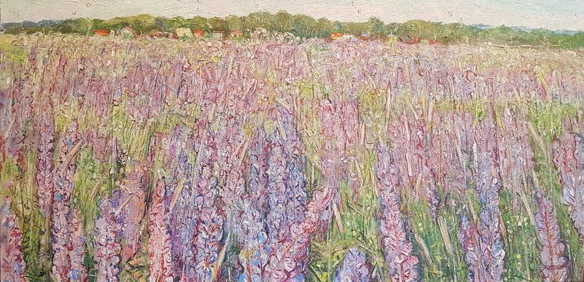 lupine field, Alexandr Zlatkin, 2015, Öl, Leinwand, 50x100, ID1151, Preis: 900€