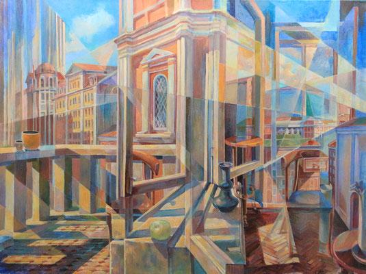 Room/City/Time, Vladimir Skripnik, 2017, Tempera, Leinwand, 60x80cm, ID1018