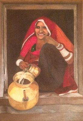 mother with water, Shihab Vaippipadath, 2000, Öl, Leinwand, 20x29cm, ID1646