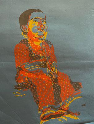 Happy Girl red on blue, Shihab Vaippipadath, undatiert, Druck, Papier, 49x63cm, ID1722